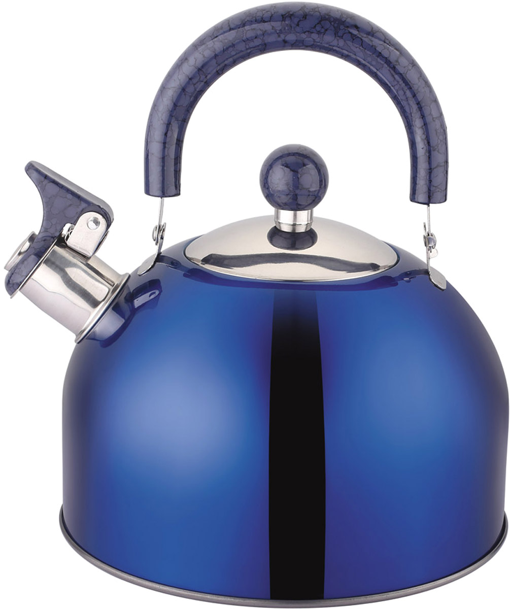Чайник Appetite, со свистком, цвет: синий, 2,5 л. LKD-2025BLKD-2025BЧайник Appetite изготовлен из высококачественной нержавеющей стали. Нержавеющая сталь обладает высокой устойчивостью к коррозии, не вступает в реакцию с холодными и горячими продуктами и полностью сохраняет их вкусовые качества. Особая конструкция дна способствует высокой теплопроводности и равномерному распределению тепла. Чайник оснащен удобной пластиковойручкой. Носик чайника имеет откидной свисток, звуковой сигнал которого подскажет, когда закипит вода. Чайник Appetite пригоден для использования на всех видах плит.