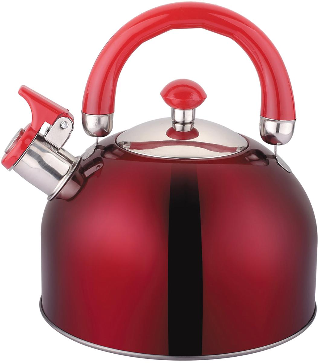 Чайник Appetite, со свистком, цвет: красный, 2,5 л. LKD-2025BDH11-73Чайник Appetite изготовлен из высококачественной нержавеющей стали. Нержавеющая сталь обладает высокой устойчивостью к коррозии, не вступает в реакцию с холодными и горячими продуктами и полностью сохраняет их вкусовые качества. Особая конструкция дна способствует высокой теплопроводности и равномерному распределению тепла.Чайник оснащен удобной пластиковойручкой. Носик чайника имеет откидной свисток, звуковой сигнал которого подскажет, когда закипит вода.Чайник Appetite пригоден для использования на всех видах плит.
