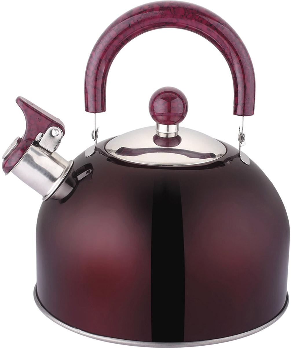 Чайник Appetite, со свистком, цвет: бордо, 2,5 л. LKD-2025DLKD-2025DЧайник цвет бордо объем 2,5 со свистком, материал: нерж. сталь, термокраска