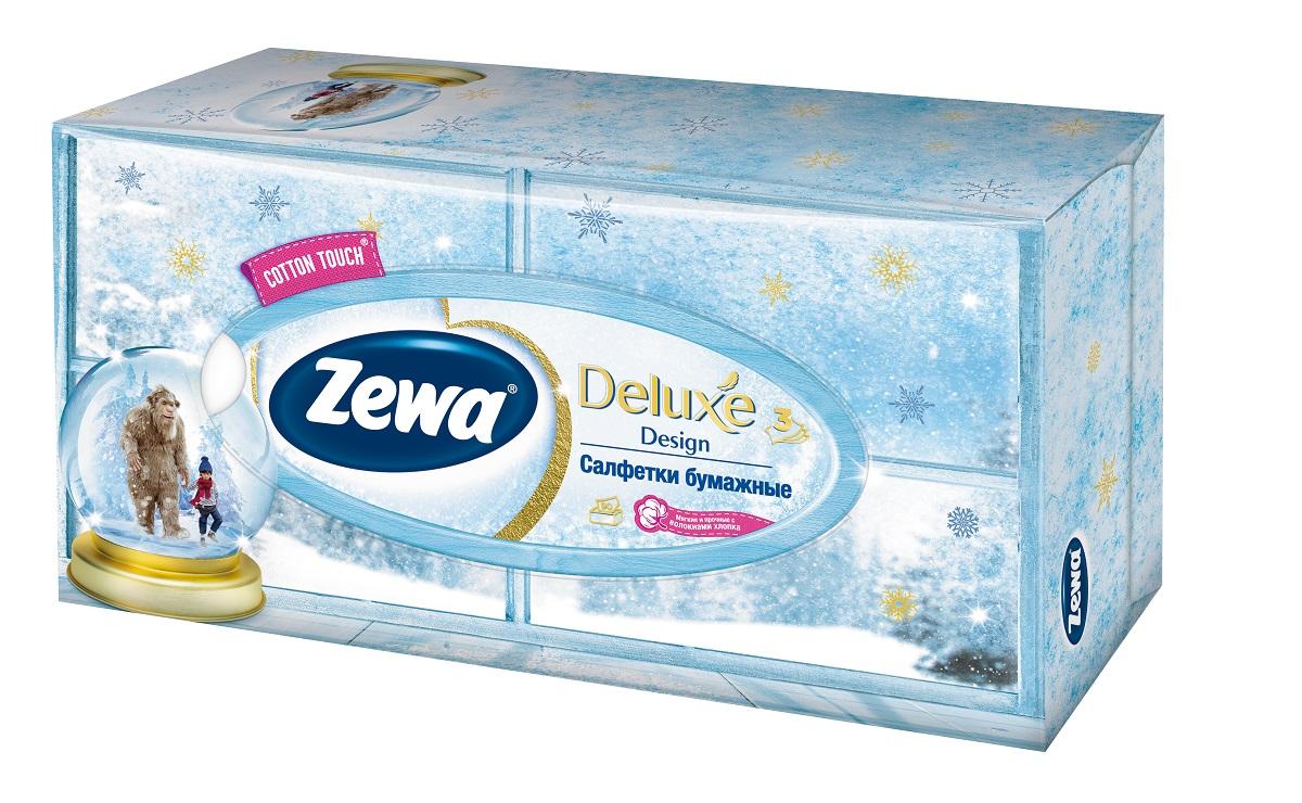 Салфетки бумажные косметические Zewa Deluxe, 90 шт. 28420_ новогодний дизайн28420_ новогодний дизайнБумажные салфетки Zewa произведены с добавлением натуральных волокон хлопка и одновременно сочетают в себе мягкость и прочность. Они деликатно и нежно заботятся о Вашей коже и дарят незабываемые ощущения прикосновения хлопка. Бумажные салфетки Zewa в коробочках с ярким дизайном станут незаменимыми помощниками дома или на работе. Они спасут не только во время простуды, но и в повседневных делах, когда нужно вытереть руки или лицо, поправить макияж. Белые 3-х слойные носовые платки без аромата. 90 платков в коробке. Состав: целлюлоза, волокна хлопка. Производство: Россия.