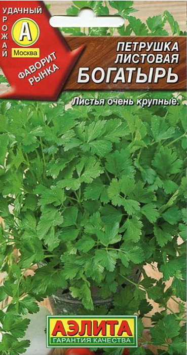 Семена Аэлита Петрушка листовая. Богатырь4601729043048Позднеспелый, теневыносливый, листовой сорт (60-70 дней от всходов до уборкина зелень) для выращивания в открытом и защищенном грунте. Розетка крупная,высотой 25-40 см, формирует до 25 листьев. Листьятемно-зеленые, с крупными долями, очень ароматные, хорошо отрастают послесрезки. Рекомендуется для потребления в свежем, сушеном и консервированномвиде. Урожайность – 3 кг/м2.Уважаемые клиенты! Обращаем ваше внимание на то, что упаковка может иметьнесколько видов дизайна. Поставка осуществляется в зависимости от наличия наскладе.