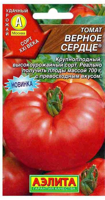 Семена Аэлита Томат. Верное сердце4601729094668Среднеспелый крупноплодный сорт, вступает в плодоношение на 110-115 день отвсходов. Индетерминантный, высотой 140-170 см. Первое соцветиезакладывается над 7-8-м листом, последующие – через 2-3 листа. Томаты плоско- округлые, мясистые, многокамерные (более 6), ребристые, средняя массатоварного плода 300-400 г. Окраска зрелого томата – малиновая, плотность –средняя, вкус превосходный. Для свежего потребления. Средняя урожайностьсорта – 11-12 кг/м2.Посев. Выращивают через рассаду с обязательной пикировкой в фазе 1-2настоящих листьев. Рассаду высаживают в возрасте 60-65 дней. Обязательнымявляется удаление боковых побегов (пасынков). Если кусты высаживать неплотно, примерно по 3 штуки на 1 м2, и формировать в один стебель (при хорошейподкормке – в два стебля), то можно стабильно получать плоды массой 700 г. Уважаемые клиенты! Обращаем ваше внимание на то, что упаковка может иметьнесколько видов дизайна. Поставка осуществляется в зависимости от наличия наскладе.