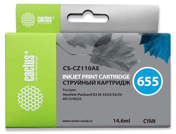 Cactus CS-CZ110AE, Cyan струйный картридж для принтеров HP DJ IA 3525/5525/4515/4525 картридж для принтера cactus cs ept7012 cyan