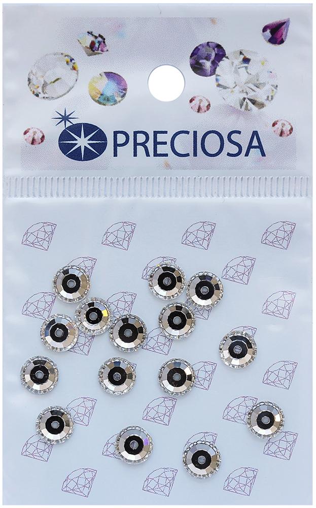 Стразы пришивные Preciosa Вива Crystal, 1 отверстие, 6 мм, 15 шт