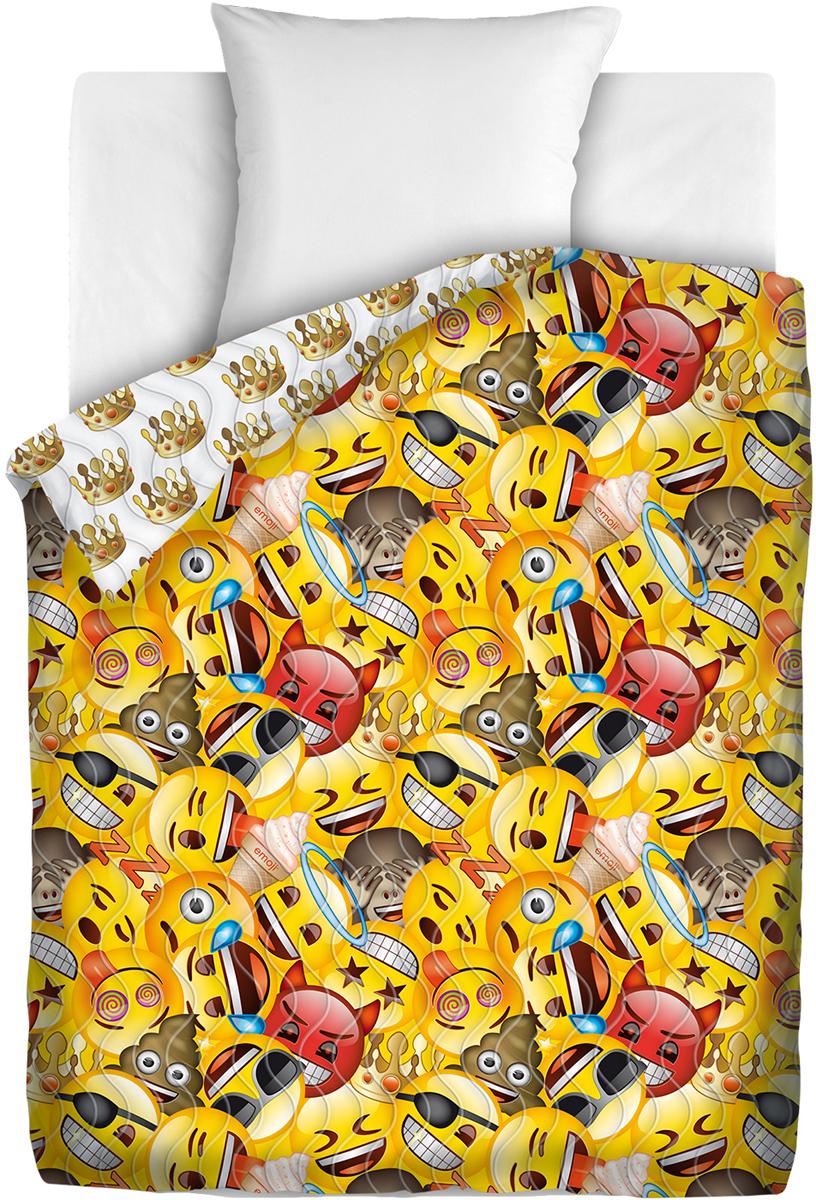 Покрывало Непоседа Emoji. Смайлы, стеганое, цвет: мультиколор, 145 х 200 см покрывало детское непоседа непоседа покрывало transformers автоботы стеганое мультиколор