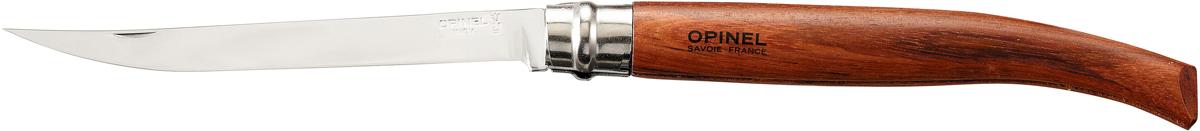 Нож складной Opinel Slim, длина лезвия 15 см243150Классический нож из коллекции Slim c лезвием 15 см и рукояткой из бубинга.Коллекция Opinel Slim — это классические филейные ножи с зеркально-отполированными клинками из нержавеющей стали Sandvik 12C27. Для безупречной остроты их затачивают на специальном колесе с бриллиантовым напылением. Рукоятки выполнены из натуральных материалов: Бук, бубинга, палисандр, олива, самшит, дуб, алюминий, рог и др.Складной нож оснащен уникальным кольцевым фиксатором из стали «Virobloc», который был придуман Марселем Опинелем в 1955 году. С его помощью можно зафиксировать клинок как в открытом состоянии, так и в закрытом для безопасности использования и транспортировки.