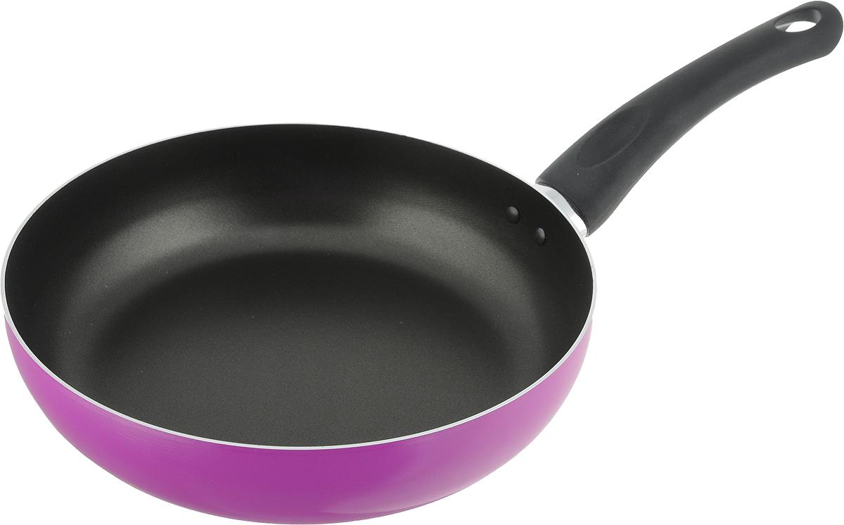 Сковорода Jarko Punto, с антипригарным покрытием, цвет: фуксия. Диаметр 24 смPunto-124-10_фуксияСковорода Jarko Punto выполнена из высококачественного литого алюминия.Благодаря внутреннему антипригарному покрытию пища не пригорает и неприлипает к стенкам. Подходит для жарки деликатных продуктов, например, рыбыи овощей. Легко чистится. Удобная эргономичная ручка из пластика, спрактичным ушком для подвешивания, прекрасно размещается в вашей руке изащищает от ожогов. Подходит для электрических и газовых плит. Можно мыть впосудомоечной машине. Диаметр сковородки (по верхнему краю): 24 см.Диаметр основания: 18 см. Высота стенки: 5,5 см. Длина ручки: 18см.