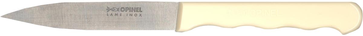 """Универсальный нож Opinel  """"Stainless Steel """" c лезвием 9,5 см создан для очистки и резки овощей, фруктов, а также для разделывания мяса. Нож не предназначен для рубки костей, а также для замороженных продуктов. Эргономичная ручка из нейлона предотвращает выскальзывание во время использования. Чтобы ножи служили долгие годы, эксперты Opinel не рекомендуют мыть ножи в посудомоечной машине, так как это существенно влияет на их срок службы: - из-за сильного напора воды во время работы посудомоечной машины ножи под давлением соприкасаются с другими столовыми приборами — это может привести к механическим повреждениям и затуплению лезвий; - во время загрузки и выгрузки ножей в отсек для столовых приборов крайне высока вероятность повреждения лезвия при контакте инструментов друг с другом; - на длительность срока службы ножей также влияет использование едких моющих средств, которые разъедают сталь и затупляют лезвие, а также очень высокая температура воды в посудомоечной машине."""
