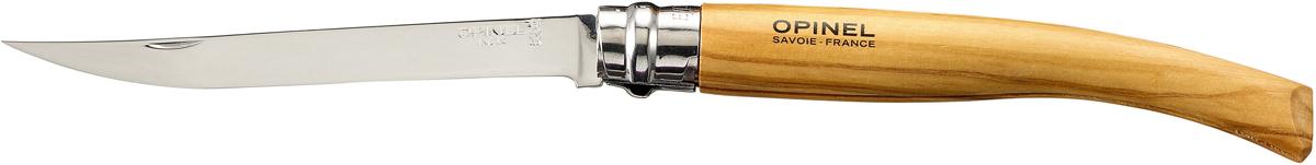 Нож складной Opinel Slim, длина лезвия 12 см1145Нож Opinel Slim - это классический филейный нож с зеркально-отполированным клинком из нержавеющей стали Sandvik 12C27. Для безупречной остроты его затачивают на специальном колесе с бриллиантовым напылением. Рукоятка выполнена из натурального материала.Складной нож оснащен уникальным кольцевым фиксатором. С его помощью можно зафиксировать клинок как в открытом состоянии, так и в закрытом для безопасности использования и транспортировки.