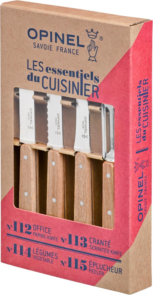 Коллекция Les Essentiels – это наборы ножей, которые необходимы для ежедневного использования на кухне. Все лезвия сделаны из нержавеющей стали Sandvik™ 12С27. Рукоятки ножей выполнены из натурального бука. Серрейтор Opinel N°113 с лезвием 10 см незаменим для приготовления завтрака. Он подходит для мягких фруктов и овощей (киви, помидоры), а также для измельчения яиц, сваренных вкрутую. Универсальный нож Opinel N°112 c лезвием 9,5 см создан для очистки и резки овощей, фруктов, а также для разделывания мяса;Нож Opinel N°114 с изогнутым лезвием 7 см и серрейтором на обратной стороне прекрасно подойдет для обработки любых овощей и фруктов. Овощечистка N°115 – универсальный аксессуар для быстрой очистки любых фруктов и овощей, подходит как правшам, так и левшам.  Чтобы ножи служили долгие годы эксперты Opinel не рекомендуют мыть ножи в посудомоечной машине, так как это существенно влияет на их срок службы:- из-за сильного напора воды во время работы посудомоечной машины ножи под давлением соприкасаются с другими столовыми приборами — это может привести к механическим повреждениям и затуплению лезвий;- во время загрузки и выгрузки ножей в отсек для столовых приборов крайне высока вероятность повреждения лезвия при контакте инструментов друг с другом;- многие ножи Opinel оснащены рукоятками из натурального дерева, которое теряет свои свойства при мытье в посудомоечной машине.- на длительность срока службы ножей также влияет использование едких моющих средств, которые разъедают сталь и затупляют лезвие, а также очень высокая температура воды в посудомоечной машине.