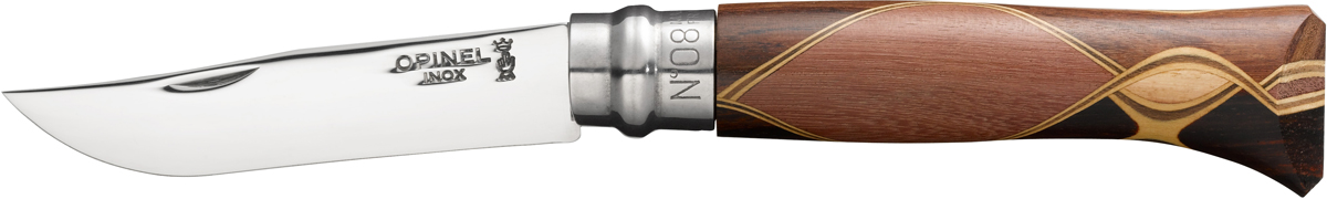 Нож складной Opinel Chaperon, цвет: бежевый, длина лезвия 8,5 см1399Традиционный складной нож N°08 Chaperon — универсальный аксессуар для дома и путешествий. Лезвие 8,5 см выполнено из модифицированной нержавеющей стали Sandvik 12C27 с добавлением хрома, которая обладает исключительными антикоррозийными свойствами. Секрет острой и надёжной режущей кромки кроется в содержании углерода в материале (не менее 0,40%). Удобная рукоятка инкрустирована разными породами дерева и является настоящим произведением искусства. В этой технологии, придуманной краснодеревщиком Бруно Шапероном, используют различные породы дерева эбеновое дерево, палисандр, фиолетовая древесина, бокот, кокоболо, палисандр, зебрали, самшит, амарант и др. Складной нож оснащен уникальным кольцевым фиксатором из стали «Virobloc», который был придуман Марселем Опинелем в 1955 году. С его помощью можно зафиксировать клинок как в открытом состоянии, так и в закрытом для безопасности использования и транспортировки.