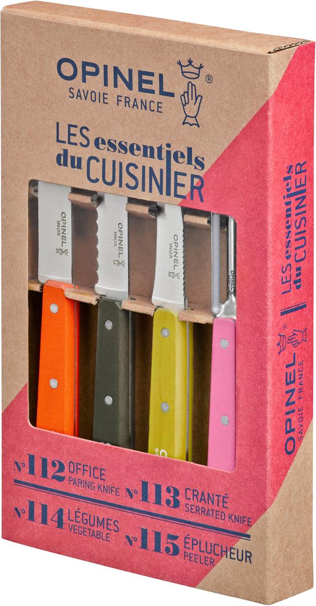 """Коллекция """"Les Essentiels Fifties"""" – это наборы ножей, которые необходимы для ежедневного использования на кухне. Все лезвия сделаны из нержавеющей стали Sandvik™ 12С27. Рукоятки ножей выполнены из натурального бука. В наборе 4 ножа:Серрейтор Opinel N°113 с лезвием 10 см незаменим для приготовления завтрака. Он подходит для мягких фруктов и овощей (киви, помидоры), а также для измельчения яиц, сваренных вкрутую. Универсальный нож Opinel N°112 c лезвием 9.5 см создан для очистки и резки овощей, фруктов, а также для разделывания мяса;Нож Opinel N°114 с изогнутым лезвием 7 см и серрейтором на обратной стороне прекрасно подойдет для обработки любых овощей и фруктов. Овощечистка N°115 – универсальный аксессуар для быстрой очистки любых фруктов и овощей, подходит как правшам, так и левшам. Чтобы ножи служили долгие годы эксперты Opinel не рекомендуют мыть ножи в посудомоечной машине, так как это существенно влияет на срок их службы:- из-за сильного напора воды во время работы посудомоечной машины ножи под давлением соприкасаются с другими столовыми приборами — это может привести к механическим повреждениям и затуплению лезвий;- во время загрузки и выгрузки ножей в отсек для столовых приборов крайне высока вероятность повреждения лезвия при контакте инструментов друг с другом;- многие ножи Opinel оснащены рукоятками из натурального дерева, которое теряет свои свойства при мытье в посудомоечной машине.- на длительность срока службы ножей также влияет использование едких моющих средств, которые разъедают сталь и затупляют лезвие, а также очень высокая температура воды в посудомоечной машине."""