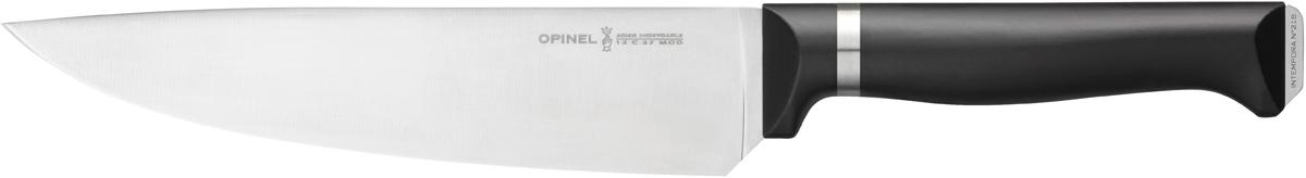 Нож поварской Opinel Intempora, цвет: черный, длина лезвия 20 см1480Opinel Intempora - универсальный нож для настоящих шеф-поваров, с удобной рукояткой из полимера, которая не выскальзывает из рук во время использования. Он идеально подходит для шинковки овощей, нарезания соломкой или кубиками, а также обработки и резки мяса, в том числе небольшими и тонкими кусочками. Форма лезвия создана специально для быстрого профессионального измельчения, не отрывая конца ножа от доски.