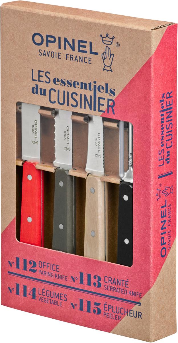 """Коллекция """"Les Essentiels"""" – это наборы ножей, которые необходимы для ежедневного использования на кухне. Все лезвия сделаны из нержавеющей стали Sandvik™ 12С27. Рукоятки ножей выполнены из натурального Бука.В набор входят 4 ножа:Серрейтор Opinel N°113 с лезвием 10 см незаменим для приготовления завтрака. Он подходит для мягких фруктов и овощей (киви, помидоры), а также для измельчения яиц, сваренных вкрутую. Универсальный нож Opinel N°112 c лезвием 9.5 см создан для очистки и резки овощей, фруктов, а также для разделывания мяса;Нож Opinel N°114 с изогнутым лезвием 7 см и серрейтором на обратной стороне прекрасно подойдет для обработки любых овощей и фруктов. Овощечистка N°115 – универсальный аксессуар для быстрой очистки любых фруктов и овощей, подходит как правшам, так и левшам. Чтобы ножи служили долгие годы эксперты Opinel не рекомендуют мыть ножи в посудомоечной машине, так как это существенно влияет на их срок службы:- из-за сильного напора воды во время работы посудомоечной машины ножи под давлением соприкасаются с другими столовыми приборами — это может привести к механическим повреждениям и затуплению лезвий;- во время загрузки и выгрузки ножей в отсек для столовых приборов крайне высока вероятность повреждения лезвия при контакте инструментов друг с другом;- многие ножи Opinel оснащены рукоятками из натурального дерева, которое теряет свои свойства при мытье в посудомоечной машине.- на длительность срока службы ножей также влияет использование едких моющих средств, которые разъедают сталь и затупляют лезвие, а также очень высокая температура воды в посудомоечной машине."""
