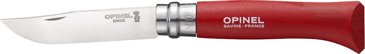 Нож складной Opinel Origins, цвет: красный, длина лезвия 8 см1705Opinel Origins - классический складной нож с лезвием из модифицированной нержавеющей стали Sandvik 12C27. Короткий и острый клинок подходит для самых разных целей. Рукоятка выполнена из натурального дерева. Складной нож оснащен уникальным кольцевым фиксатором. С его помощью можно зафиксировать клинок как в открытом состоянии, так и в закрытом для безопасности использования и транспортировки.