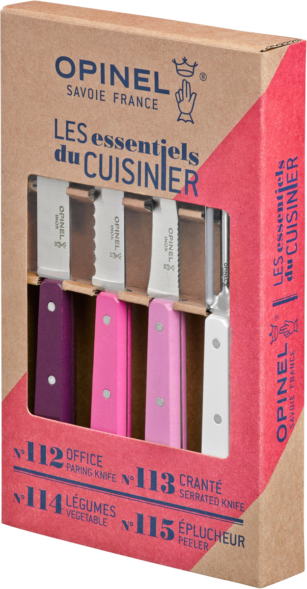"""Коллекция """"Les Essentiels"""" – это наборы ножей, которые необходимы для ежедневного использования на кухне. Все лезвия сделаны из нержавеющей стали Sandvik™ 12С27. Рукоятки ножей выполнены из натурального Бука.В наборе 4 ножа:Серрейтор Opinel N°113 с лезвием 10 см незаменим для приготовления завтрака. Он подходит для мягких фруктов и овощей (киви, помидоры), а также для измельчения яиц, сваренных вкрутую. Универсальный нож Opinel N°112 c лезвием 9.5 см создан для очистки и резки овощей, фруктов, а также для разделывания мяса;Нож Opinel N°114 с изогнутым лезвием 7 см и серрейтором на обратной стороне прекрасно подойдет для обработки любых овощей и фруктов. Овощечистка N°115 – универсальный аксессуар для быстрой очистки любых фруктов и овощей, подходит как правшам, так и левшам. Чтобы ножи служили долгие годы эксперты Opinel не рекомендуют мыть ножи в посудомоечной машине, так как это существенно влияет на срок их службы:- из-за сильного напора воды во время работы посудомоечной машины ножи под давлением соприкасаются с другими столовыми приборами — это может привести к механическим повреждениям и затуплению лезвий;- во время загрузки и выгрузки ножей в отсек для столовых приборов крайне высока вероятность повреждения лезвия при контакте инструментов друг с другом;- многие ножи Opinel оснащены рукоятками из натурального дерева, которое теряет свои свойства при мытье в посудомоечной машине.- на длительность срока службы ножей также влияет использование едких моющих средств, которые разъедают сталь и затупляют лезвие, а также очень высокая температура воды в посудомоечной машине."""