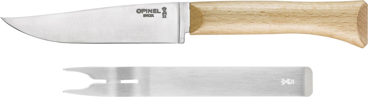 """Дуэт Opinel """"Parallele"""", состоящий из вилки и ножа для сыра, прекрасно дополнят любую коллекцию столовых приборов. Изделия выполнены из нержавеющей стали, рукоятка ножа из дерева. Незаменимый аксессуар для завтрака и праздничных застолий. Коллекция """"Parallele"""" – признанная классика в мире ножей. Она сочетает в себе современный эргономичный дизайн, надёжные материалы и вековые традиции бренда Opinel. Ножи сделаны из нержавеющей стали с эргономичными рукоятками из натурального бука. Дерево – самый популярный материал для производства ножевых рукоятей Opinel. Он лёгкий, приятный на ощупь и обладает красивым природным рисунком древесины разных оттенков с тёмными прожилками. Чтобы ножи служили долгие годы эксперты Opinel не рекомендуют мыть ножи в посудомоечной машине, так как это существенно влияет на срок их службы:- из-за сильного напора воды во время работы посудомоечной машины ножи под давлением соприкасаются с другими столовыми приборами — это может привести к механическим повреждениям и затуплению лезвий;- во время загрузки и выгрузки ножей в отсек для столовых приборов крайне высока вероятность повреждения лезвия при контакте инструментов друг с другом;- многие ножи Opinel оснащены рукоятками из натурального дерева, которое теряет свои свойства при мытье в посудомоечной машине.- на длительность срока службы ножей также влияет использование едких моющих средств, которые разъедают сталь и затупляют лезвие, а также очень высокая температура воды в посудомоечной машине."""