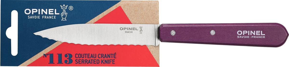 Нож Opinel Les Essentiels, серрейтор, цвет: фиолетовый, длина лезвия 10 см1919Нож Opinel Les Essentiels незаменим для приготовления завтрака. Он подходит для мягких фруктов и овощей (киви, помидоры), а также для измельчения яиц, сваренных вкрутую. Яркий цвет рукоятки добавит процессу приготовления любимых блюд искры и подарит хорошее настроение. Коллекция Les Essentiels - это наборы ножей, которые необходимы для ежедневного использования на кухне. Все лезвия сделаны из нержавеющей стали Sandvik™ 12С27. Рукоятки ножей выполнены из натурального бука.