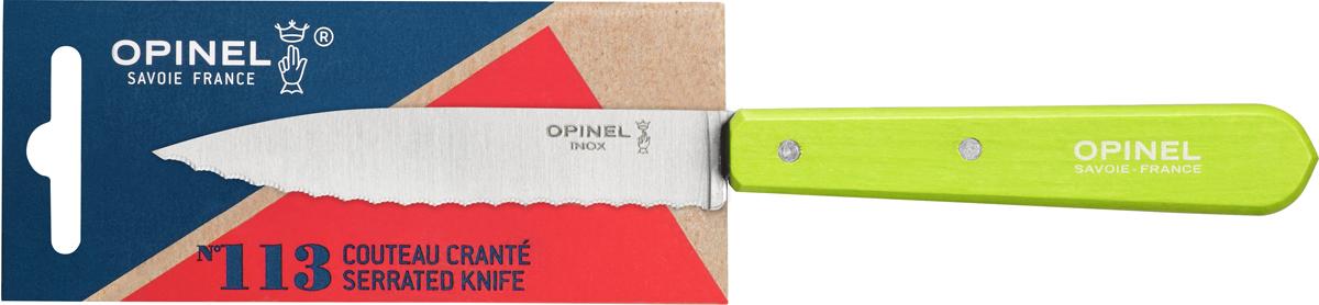 Нож Opinel Les Essentiels, серрейтор, цвет: зеленый, длина лезвия 10 см1920Нож Opinel Les Essentiels незаменим для приготовления завтрака. Он подходит для мягких фруктов и овощей (киви, помидоры), а также для измельчения яиц, сваренных вкрутую. Яркий цвет рукоятки добавит процессу приготовления любимых блюд искры и подарит хорошее настроение. Коллекция Les Essentiels - это наборы ножей, которые необходимы для ежедневного использования на кухне. Все лезвия сделаны из нержавеющей стали Sandvik™ 12С27. Рукоятки ножей выполнены из натурального бука.