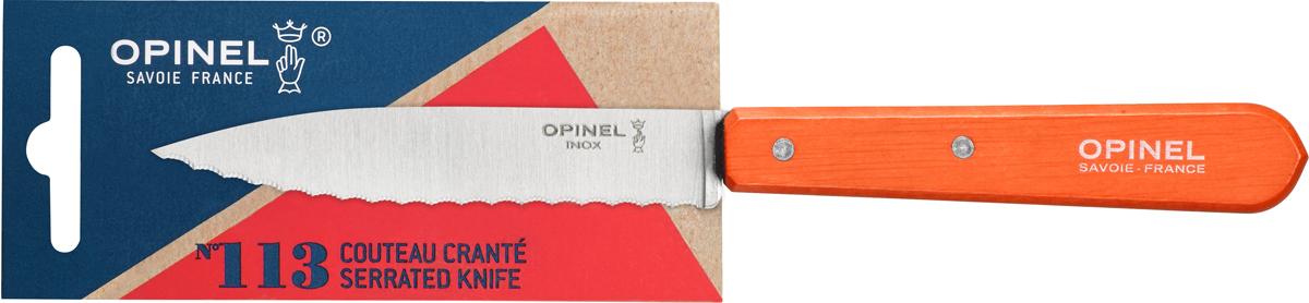 Нож Opinel Les Essentiels, серрейтор, цвет: оранжевый, длина лезвия 10 см1921Нож Opinel Les Essentiels незаменим для приготовления завтрака. Он подходит для мягких фруктов и овощей (киви, помидоры), а также для измельчения яиц, сваренных вкрутую. Яркий цвет рукоятки добавит процессу приготовления любимых блюд искры и подарит хорошее настроение. Коллекция Les Essentiels - это наборы ножей, которые необходимы для ежедневного использования на кухне. Все лезвия сделаны из нержавеющей стали Sandvik™ 12С27. Рукоятки ножей выполнены из натурального бука.