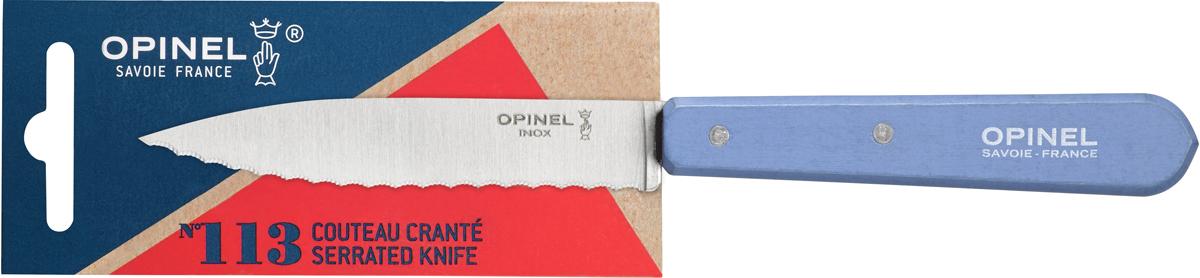 Нож Opinel Les Essentiels, серрейтор, цвет: голубой, длина лезвия 10 см1922Серрейтор Opinel N°113 с лезвием 10 см незаменим для приготовления завтрака. Он подходит для мягких фруктов и овощей (киви, помидоры), а также для измельчения яиц, сваренных вкрутую. Яркий цвет рукоятки добавит искры процессу приготовления любимых блюд и подарит хорошее настроение. Коллекция Les Essentiels – это наборы ножей, которые необходимы для ежедневного использования на кухне. Все лезвия сделаны из нержавеющей стали Sandvik™ 12С27. Рукоятки ножей выполнены из натурального Бука. Чтобы ножи служили долгие годы эксперты Opinel не рекомендуют мыть ножи в посудомоечной машине, так как это существенно влияет на срок их службы:- из-за сильного напора воды во время работы посудомоечной машины ножи под давлением соприкасаются с другими столовыми приборами — это может привести к механическим повреждениям и затуплению лезвий;- во время загрузки и выгрузки ножей в отсек для столовых приборов крайне высока вероятность повреждения лезвия при контакте инструментов друг с другом;- многие ножи Opinel оснащены рукоятками из натурального дерева, которое теряет свои свойства при мытье в посудомоечной машине.- на длительность срока службы ножей также влияет использование едких моющих средств, которые разъедают сталь и затупляют лезвие, а также очень высокая температура воды в посудомоечной машине.