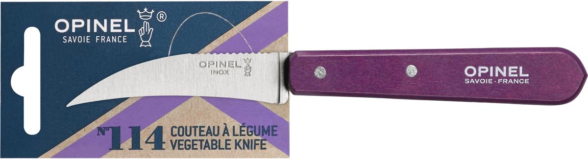 Нож для овощей Opinel Les Essentiels, цвет: фиолетовый, длина лезвия 12 см1924Нож Opinel N°114 с изогнутым лезвием 7 см и серрейтором на обратной стороне прекрасно подойдет для обработки любых овощей и фруктов. Коллекция Les Essentiels – это наборы ножей, которые необходимы для ежедневного использования на кухне. Все лезвия сделаны из нержавеющей стали Sandvik™ 12С27. Рукоятки ножей выполнены из натурального Бука. Яркий цвет рукоятки добавит искры процессу приготовления любимых блюд и подарит хорошее настроение.Чтобы ножи служили долгие годы эксперты Opinel не рекомендуют мыть ножи в посудомоечной машине, так как это существенно влияет на срок их службы:- из-за сильного напора воды во время работы посудомоечной машины ножи под давлением соприкасаются с другими столовыми приборами — это может привести к механическим повреждениям и затуплению лезвий;- во время загрузки и выгрузки ножей в отсек для столовых приборов крайне высока вероятность повреждения лезвия при контакте инструментов друг с другом;- многие ножи Opinel оснащены рукоятками из натурального дерева, которое теряет свои свойства при мытье в посудомоечной машине.- на длительность срока службы ножей также влияет использование едких моющих средств, которые разъедают сталь и затупляют лезвие, а также очень высокая температура воды в посудомоечной машине.
