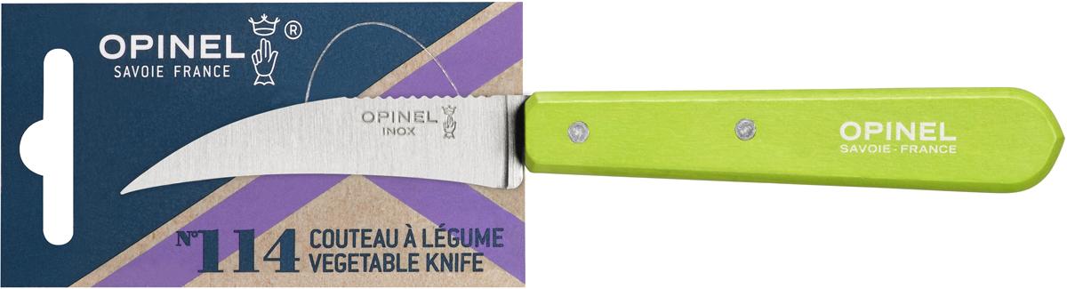 Нож для овощей Opinel Les Essentiels, цвет: зеленый, длина лезвия 7 см1925Нож Opinel Les Essentiels с изогнутым лезвием и серрейтором на обратной стороне прекрасно подойдет для обработки любых овощей и фруктов. Яркий цвет рукоятки добавит процессу приготовления любимых блюд искры и подарит хорошее настроение. Коллекция Les Essentiels - это наборы ножей, которые необходимы для ежедневного использования на кухне. Все лезвия сделаны из нержавеющей стали Sandvik™ 12С27. Рукоятки ножей выполнены из натурального бука.