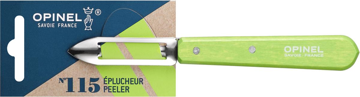 Овощечистка Opinel Les Essentiels, цвет: зеленый, длина лезвия 6 см1930Овощечистка Opinel Les Essentiels – универсальный аксессуар для быстрой очистки любых фруктов и овощей, подходит как правшам, так и левшам. Коллекция Les Essentiels – это наборы кухонных принадлежностей, которые необходимы для ежедневного использования на кухне. Все лезвия сделаны из нержавеющей стали Sandvik™ 12С27. Рукоятки ножей выполнены из натурального бука.