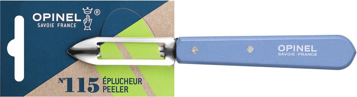 Овощечистка Opinel Les Essentiels, цвет: голубой, длина лезвия 6 см1932Овощечистка Opinel Les Essentiels – универсальный аксессуар для быстрой очистки любых фруктов и овощей, подходит как правшам, так и левшам. Коллекция Les Essentiels – это наборы кухонных принадлежностей, которые необходимы для ежедневного использования на кухне. Все лезвия сделаны из нержавеющей стали Sandvik™ 12С27. Рукоятки ножей выполнены из натурального бука.
