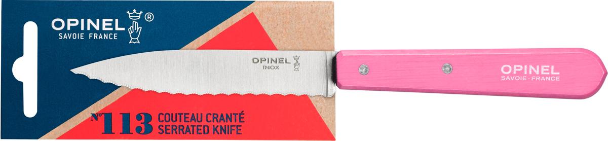 Нож Opinel Les Essentiels, серрейтор, цвет: розовый, длина лезвия 10 см2036Нож Opinel Les Essentiels незаменим для приготовления завтрака. Он подходит для мягких фруктов и овощей (киви, помидоры), а также для измельчения яиц, сваренных вкрутую. Яркий цвет рукоятки добавит процессу приготовления любимых блюд искры и подарит хорошее настроение. Коллекция Les Essentiels - это наборы ножей, которые необходимы для ежедневного использования на кухне. Все лезвия сделаны из нержавеющей стали Sandvik™ 12С27. Рукоятки ножей выполнены из натурального бука.