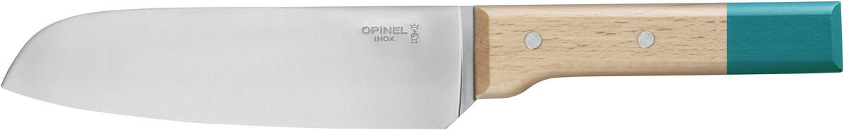 Нож сантоку Opinel Parallele, цвет: синий, длина лезвия 17 см2126Нож сантоку Opinel Parallele создан специально для нарезания рыбы, моллюсков и других морепродуктов тоненькими кусочками. Он выполнен из нержавеющей стали с удобной рукояткой из натурального бука. Яркий цвет рукоятки добавит процессу приготовления любимых блюд искры и подарит хорошее настроение.