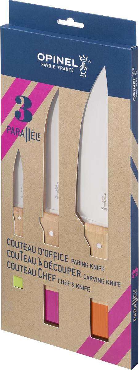 Коллекция Parallele – признанная классика в мире ножей. Она сочетает в себе современный эргономичный дизайн, надёжные материалы и вековые традиции бренда Opinel.В набор входят универсальные кухонные ножи Opinel № 118, 120 и 126 из нержавеющей стали с эргономичными рукоятками из натурального Бука. Дерево – самый популярный материал для производства ножевых рукоятей Opinel. Он лёгкий, приятный на ощупь и обладает красивым природным рисунком древесины разных оттенков с тёмными прожилками. Opinel № 118 – универсальный нож из коллекции Parallele для настоящих шеф-поваров, с лезвием 20 см. Он идеально подходит для шинковки овощей, нарезания соломкой или кубиками, а также для обработки и резки мяса, в том числе небольшими и тонкими кусочками. Форма лезвия создана специально для быстрого профессионального измельчения, не отрывая конца ножа от доски. Opinel № 120 – нож с лезвием 16 см и удобной рукояткой из полимера, которая не выскальзывает из рук во время работы. Его рекомендуется использовать в дуэте с вилкой Parallele для разделывания ростбифа, ягненка, птицы и дичи. Также отлично подойдет для нарезания овощей и фруктов. Opinel № 126 – нож с лезвием 6 см, который подходит для очистки и нарезания овощей и фруктов, а также для обработки мяса. Чтобы ножи служили долгие годы эксперты Opinel не рекомендуют мыть ножи в посудомоечной машине, так как это существенно влияет на срок их службы:- из-за сильного напора воды во время работы посудомоечной машины ножи под давлением соприкасаются с другими столовыми приборами — это может привести к механическим повреждениям и затуплению лезвий;- во время загрузки и выгрузки ножей в отсек для столовых приборов крайне высока вероятность повреждения лезвия при контакте инструментов друг с другом;- многие ножи Opinel оснащены рукоятками из натурального дерева, которое теряет свои свойства при мытье в посудомоечной машине.- на длительность срока службы ножей также влияет использование едких моющих средств, которые разъедают сталь и затупляют 