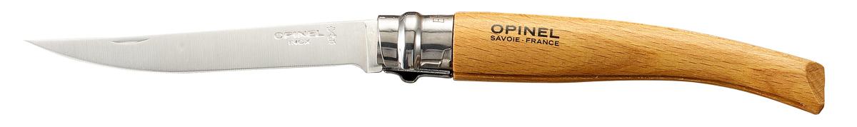 """Нож Opinel """"Slim"""" - это классический филейный нож с зеркально-отполированным клинком из нержавеющей стали Sandvik 12C27. Для безупречной остроты его затачивают на специальном колесе с бриллиантовым напылением. Рукоятка выполнена из натурального материала.Складной нож оснащен уникальным кольцевым фиксатором. С его помощью можно зафиксировать клинок как в открытом состоянии, так и в закрытом для безопасности использования и транспортировки."""