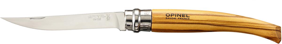 Нож складной Opinel Slim, длина лезвия 10 см. 645645Нож Opinel Slim - это классический филейный нож с зеркально-отполированным клинком из нержавеющей стали Sandvik 12C27. Для безупречной остроты его затачивают на специальном колесе с бриллиантовым напылением. Рукоятка выполнена из натурального материала.Складной нож оснащен уникальным кольцевым фиксатором. С его помощью можно зафиксировать клинок как в открытом состоянии, так и в закрытом для безопасности использования и транспортировки.