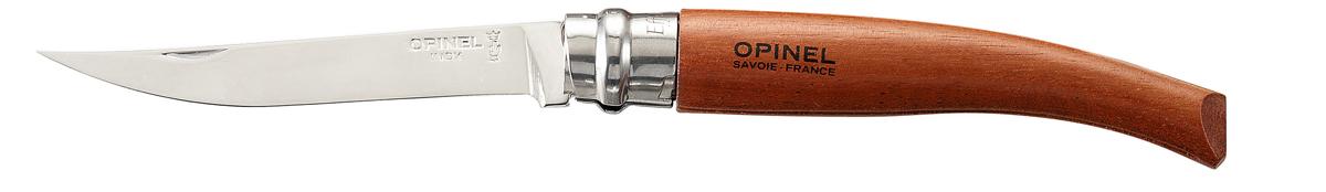 Нож складной Opinel Slim, длина лезвия 10 см. 1313Нож Opinel Slim - это классический филейный нож с зеркально-отполированным клинком из нержавеющей стали Sandvik 12C27. Для безупречной остроты его затачивают на специальном колесе с бриллиантовым напылением. Рукоятка выполнена из натурального материала.Складной нож оснащен уникальным кольцевым фиксатором. С его помощью можно зафиксировать клинок как в открытом состоянии, так и в закрытом для безопасности использования и транспортировки.