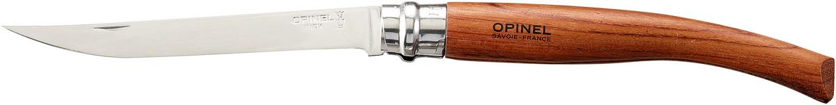 Нож складной Opinel Slim, длина лезвия 12 см. 1111Нож Opinel Slim - это классический филейный нож с зеркально-отполированным клинком из нержавеющей стали Sandvik 12C27. Для безупречной остроты его затачивают на специальном колесе с бриллиантовым напылением. Рукоятка выполнена из натурального материала.Складной нож оснащен уникальным кольцевым фиксатором. С его помощью можно зафиксировать клинок как в открытом состоянии, так и в закрытом для безопасности использования и транспортировки.