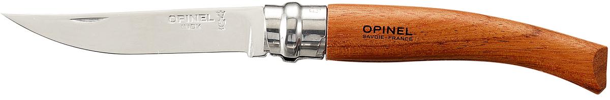 Нож складной Opinel Slim, цвет: бежевый, длина лезвия 8 см15Классический нож из коллекции Slim c лезвием 8 см и рукояткой из бубинга.Коллекция Opinel Slim — это классические филейные ножи с зеркально-отполированными клинками из нержавеющей стали Sandvik 12C27. Для безупречной остроты их затачивают на специальном колесе с бриллиантовым напылением. Рукоятки выполнены из натуральных материалов: Бук, бубинга, палисандр, олива, самшит, дуб, алюминий, рог и др.Складной нож оснащен уникальным кольцевым фиксатором из стали «Virobloc», который был придуман Марселем Опинелем в 1955 году. С его помощью можно зафиксировать клинок как в открытом состоянии, так и в закрытом для безопасности использования и транспортировки.