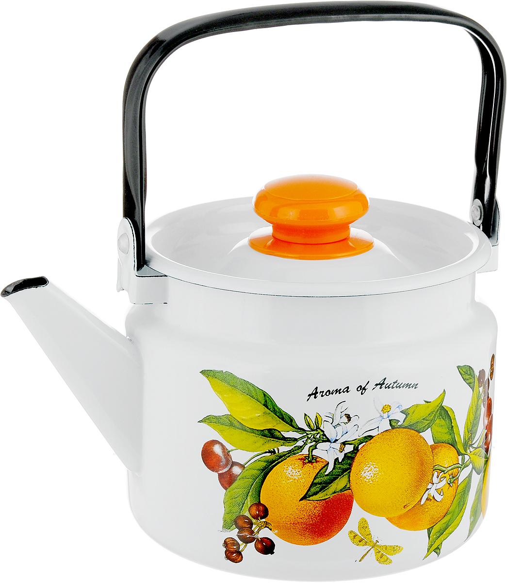 Чайник Лысьвенские эмали Апельсин, 2 лС-2710П2/4_белыйЧайник Лысьвенские эмали Апельсин выполнен из высококачественной стали с эмалированным покрытием. Такое покрытие защищает сталь от коррозии, придает посуде гладкую стекловидную поверхность и надежно защищает от кислот и щелочей. Чайник оснащен подвижной ручкой и крышкой, которая плотно прилегает к краю. Внешние стенки декорированы красочным изображением апельсинов. Эстетичный и функциональный, такой чайник будет оригинально смотреться в любом интерьере. Подходит для газовых, электрических, стеклокерамических и индукционных плит. Можно мыть в посудомоечной машине. Диаметр (по верхнему краю): 15 см.Высота чайника (без учета ручки и крышки): 13 см.