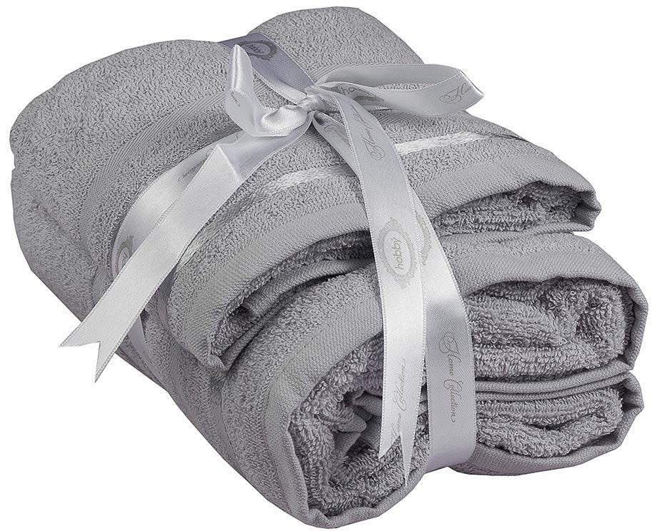 Полотенце махровое Hobby Home Collection Nisa, цвет: светло-серый, 50 х 90 см, 70 х 140 см, 2 шт