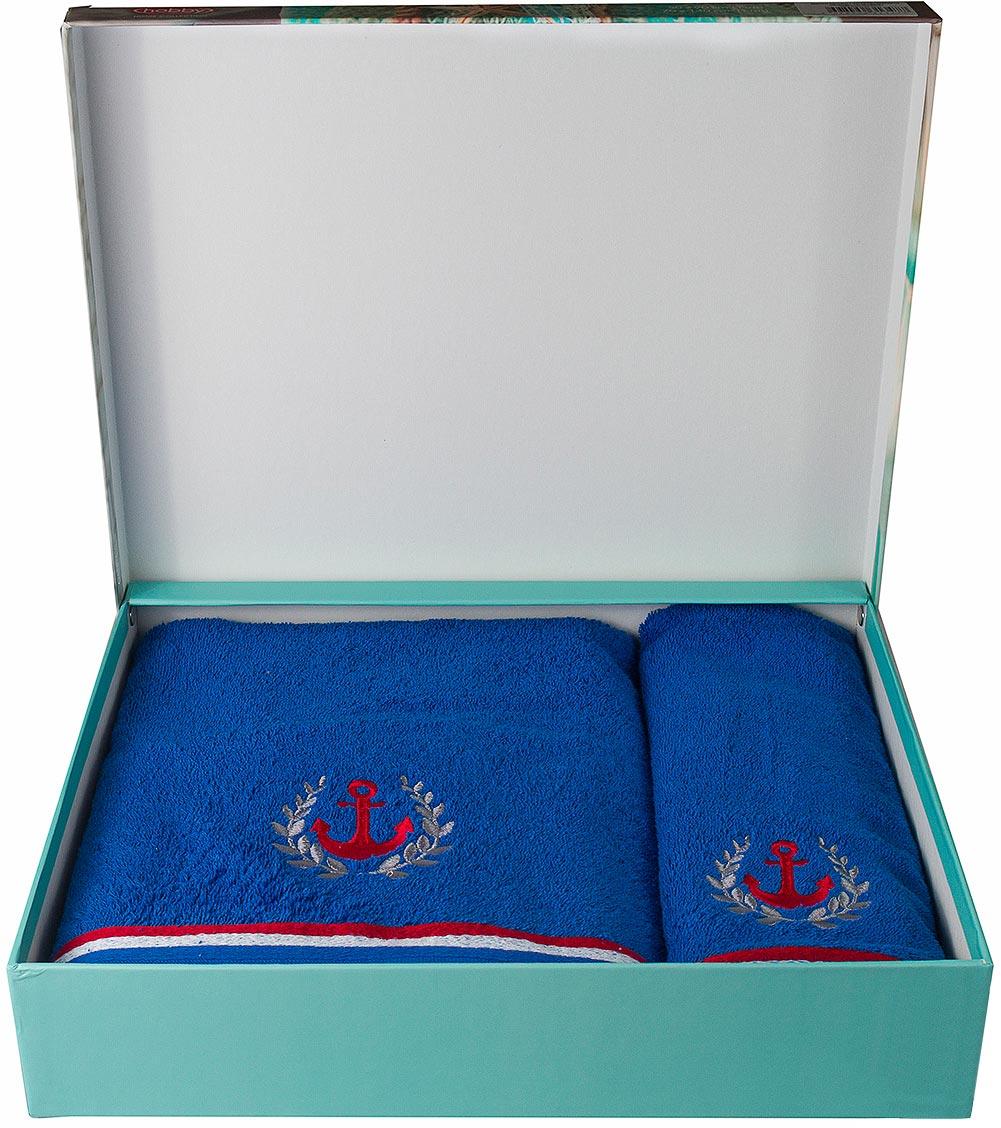 Полотенце махровое Hobby Home Collection Maritim, цвет: синий, 50 х 90 см, 70 х 140 см, 2 шт