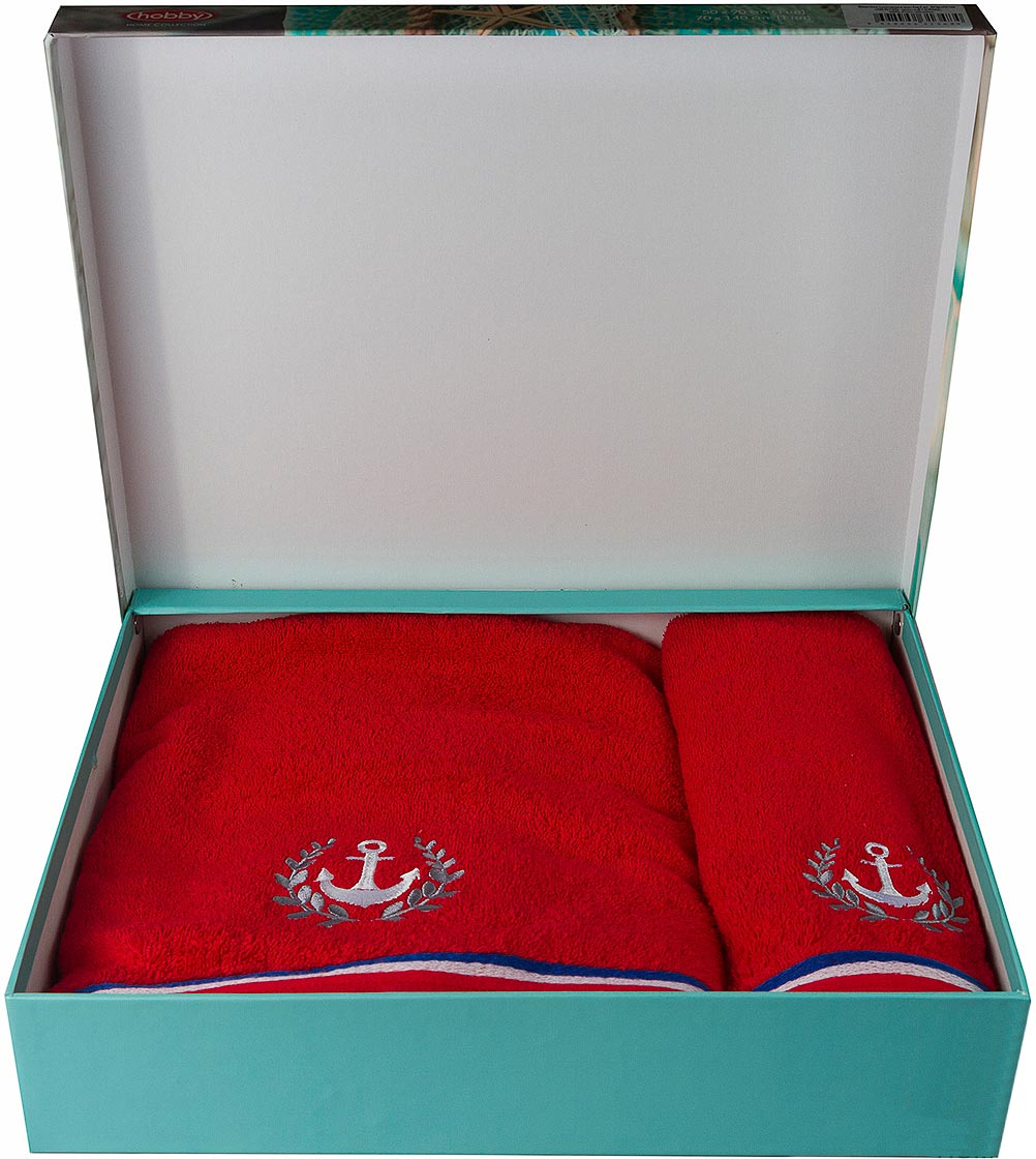 Полотенце махровое Hobby Home Collection Maritim, цвет: красный, 50 х 90 см, 70 х 140 см, 2 шт