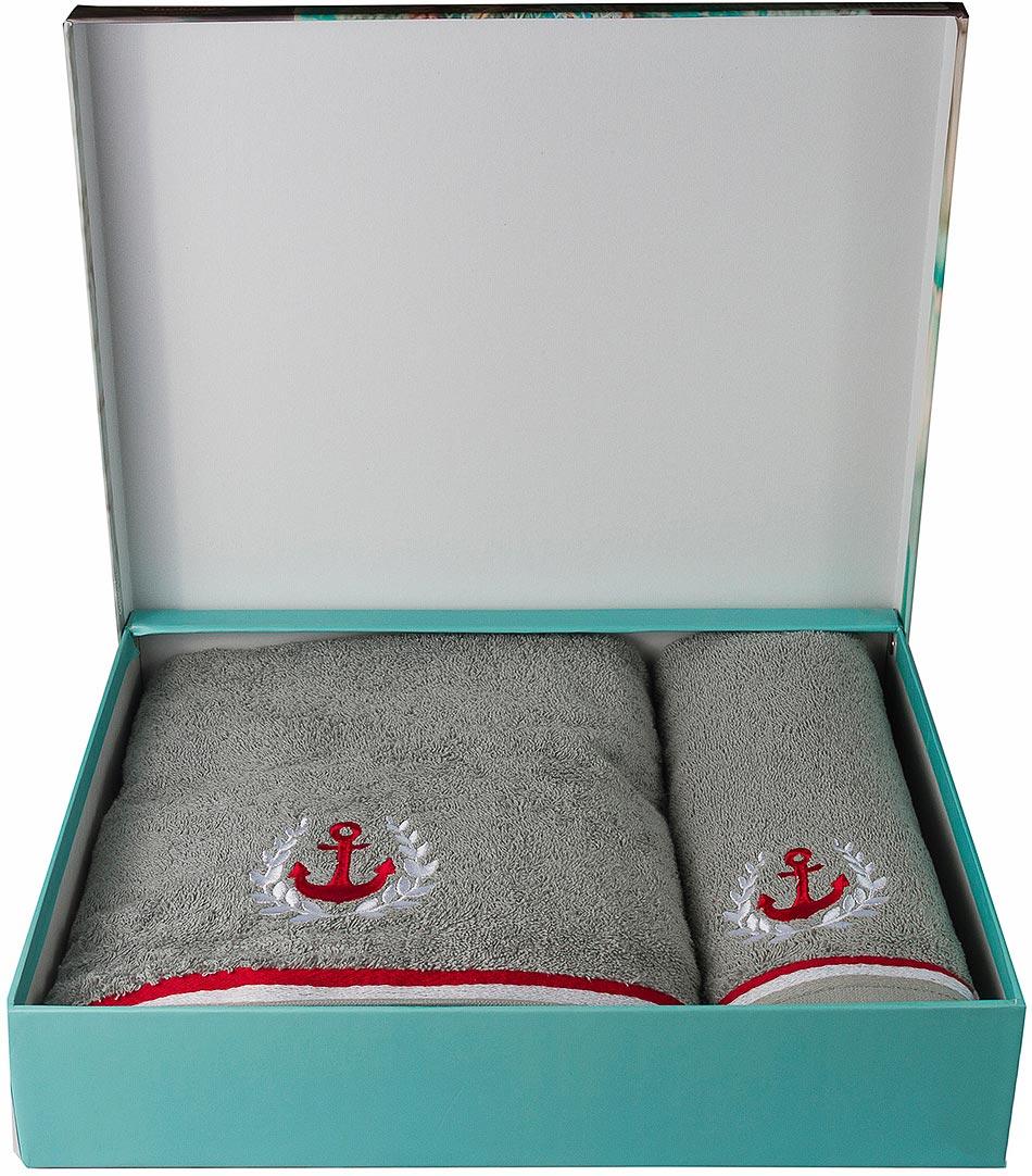 """Махровое полотенце Hobby Home Collection """"Maritim"""" выполнено из натурального хлопка. Оно отлично впитывает влагу, быстро сохнет, сохраняет яркость цвета и не теряет форму после многократных стирок. Полотенце мягкое и приятное на ощупь. В комплекте 2 полотенца разного размера. Полотенца упакованы в фирменную коробку."""