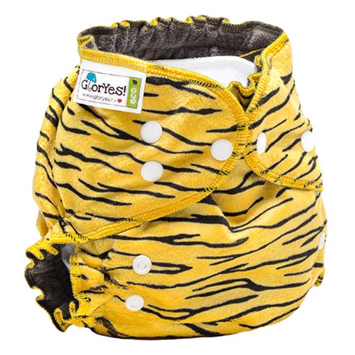 GlorYes! Многоразовый подгузник Optima плюшевый Тигруля 3-18 кг + два вкладыша, Подгузники и пеленки  - купить со скидкой