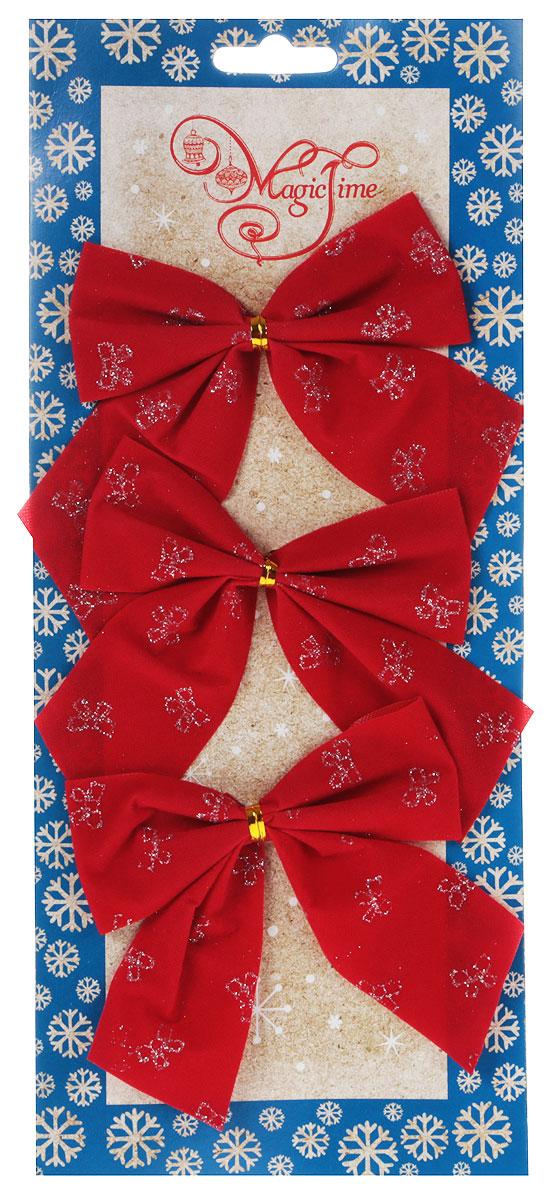 Украшение новогоднее Magic Time Бант, цвет: красный, золотой, 10 х 10, 3 шт42777/76246Новогоднее украшение Феникс-Презент Бант отлично подойдет для декорирования вашего дома и новогодней ели. Игрушка выполнена из полиэстера в виде бантика. Украшение можно привязать к ели.Елочная игрушка - символ Нового года. Она несет в себе волшебство и красоту праздника. Создайте в своем доме атмосферу веселья и радости, украшая всей семьей новогоднюю елку нарядными игрушками, которые будут из года в год накапливать теплоту воспоминаний.