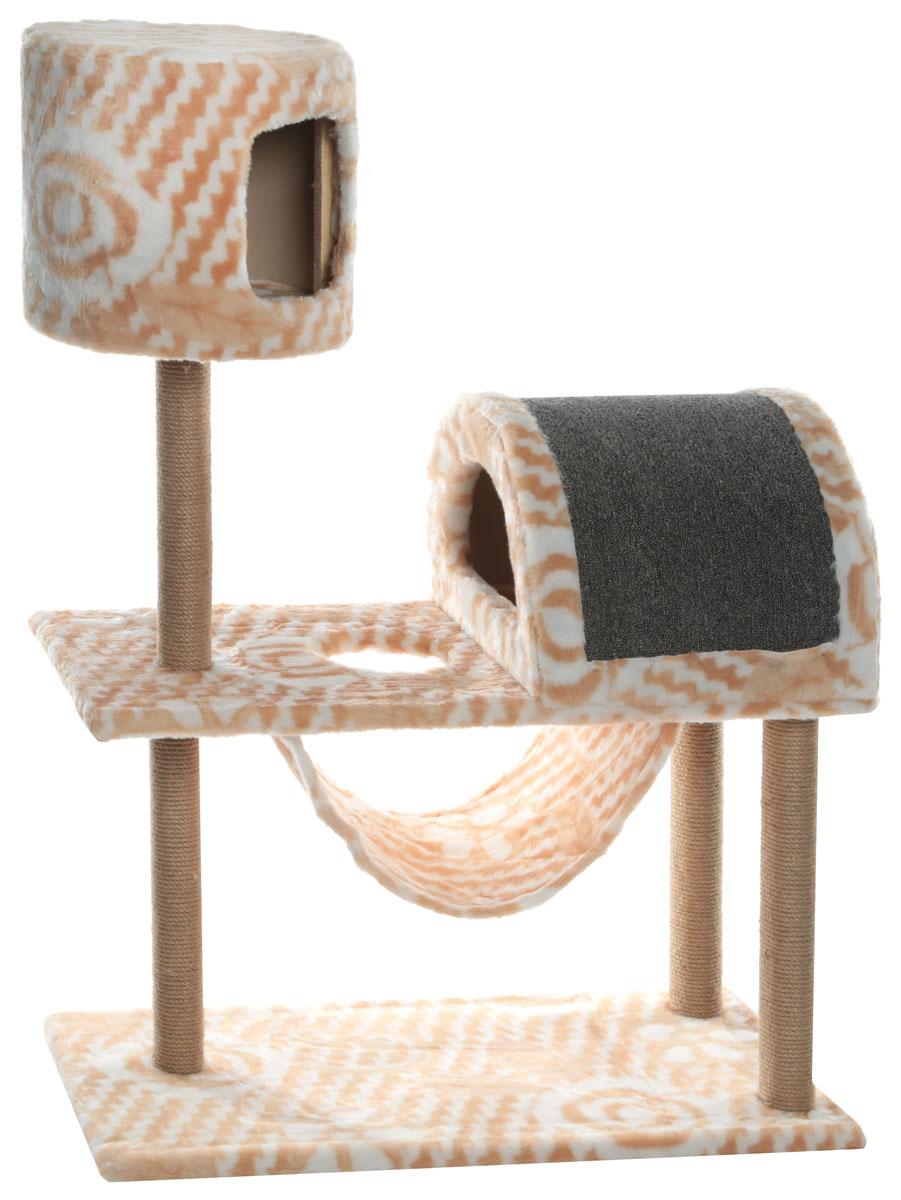Комплекс игровой для кошек  Меридиан , с когтеточкой, с домиком и гамаком, цвет: белый, бежевый, 90 х 42 х 125 см - Когтеточки и игровые комплексы