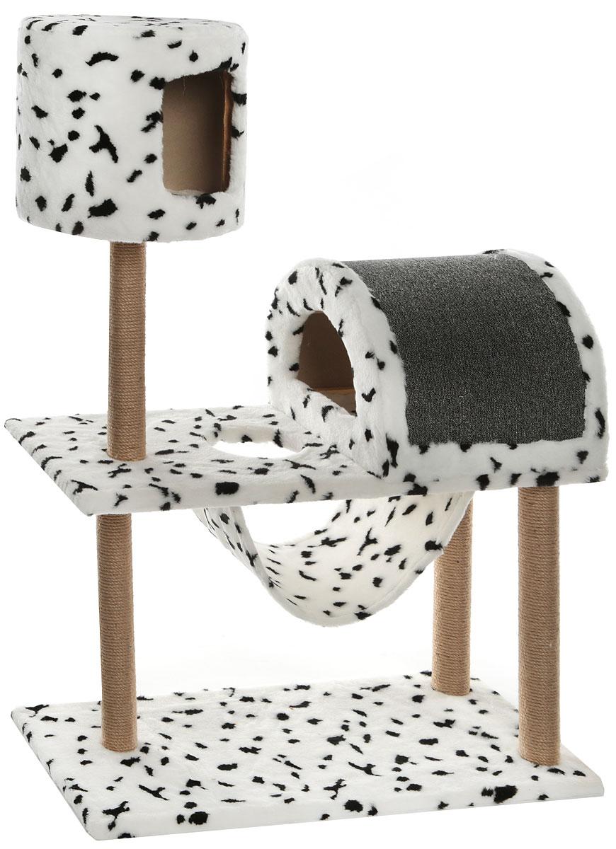 Комплекс игровой для кошек Меридиан, с когтеточкой, с домиком и гамаком, цвет: белый, черный, 90 х 42 х 125 смД541ДИгровой комплекс для кошек Меридиан выполнен из высококачественного ДВП и ДСП и обтянут искусственным мехом в расцветке далматин. Изделие предназначено для кошек. Ваш домашний питомец будет с удовольствием точить когти о специальный столбик, изготовленный из джута. А отдохнуть он сможет либо в домиках на разной высоте, либо в расположенном внизу гамаке.Общая высота: 1,25 см.Основание: длина - 90 см. ширина - 42 см.Домик: диаметр: 34 см. высота: 31 см.