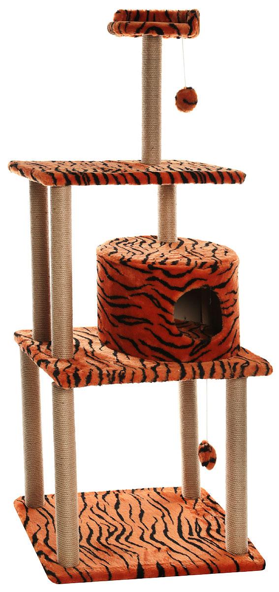 Домик-когтеточка  Меридиан , круглый, с двумя игрушками, цвет: тигровый, 65 х 50 х 153 см - Когтеточки и игровые комплексы