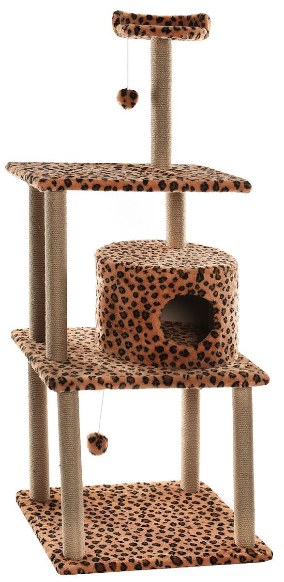 Домик-когтеточка  Меридиан , круглый, с двумя игрушками, цвет: леопардовый, 65 х 50 х 153 см - Когтеточки и игровые комплексы