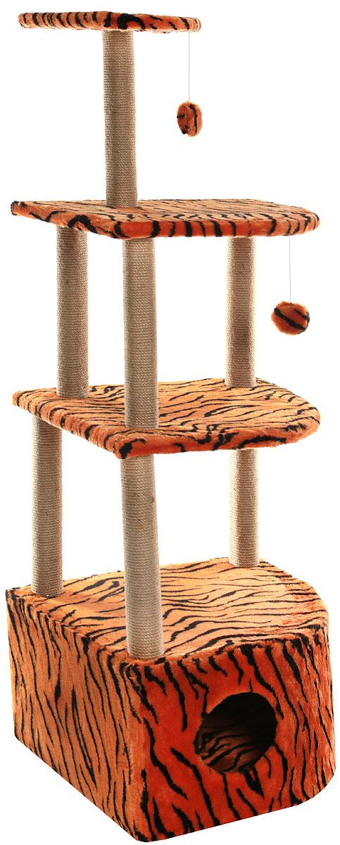 Домик-когтеточка  Меридиан , угловой, 4-ярусный, цвет: тигровый, 55 х 48 х 158 см - Когтеточки и игровые комплексы