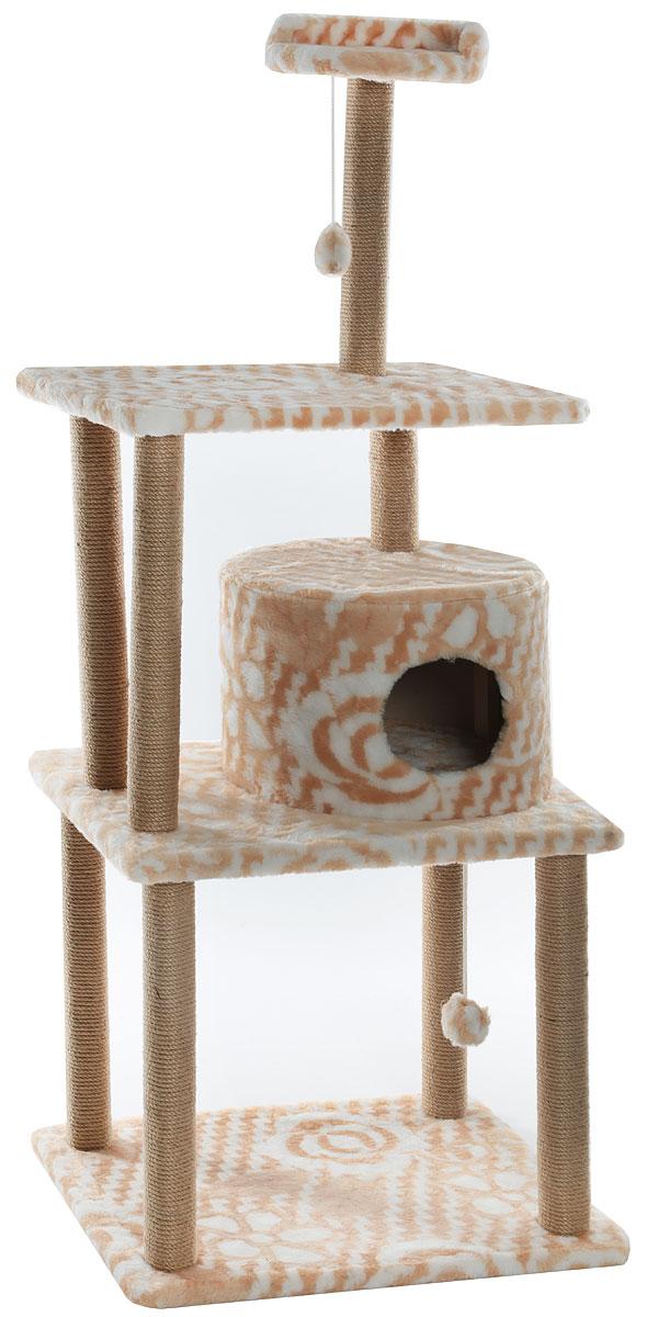 Домик-когтеточка  Меридиан , круглый, с двумя игрушками, цвет: белый, бежевый, 65 х 50 х 153 см - Когтеточки и игровые комплексы